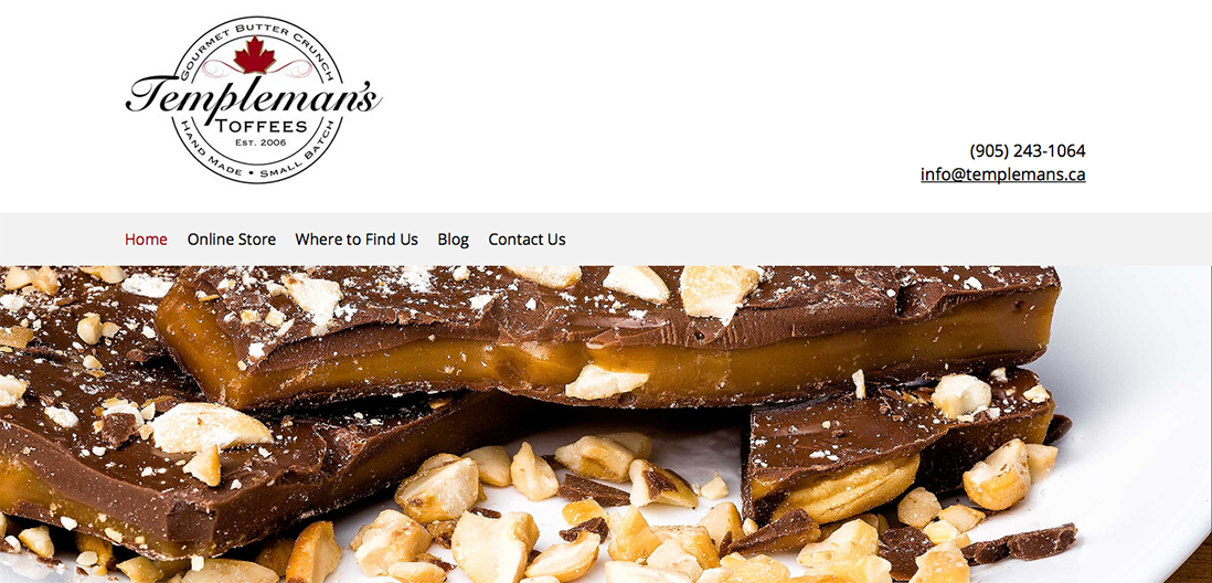 Templemans Toffee home page