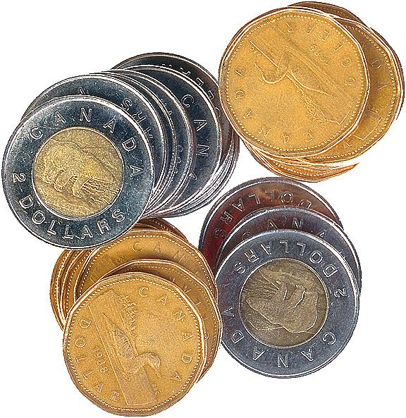 Canadian Loonies and Toonies