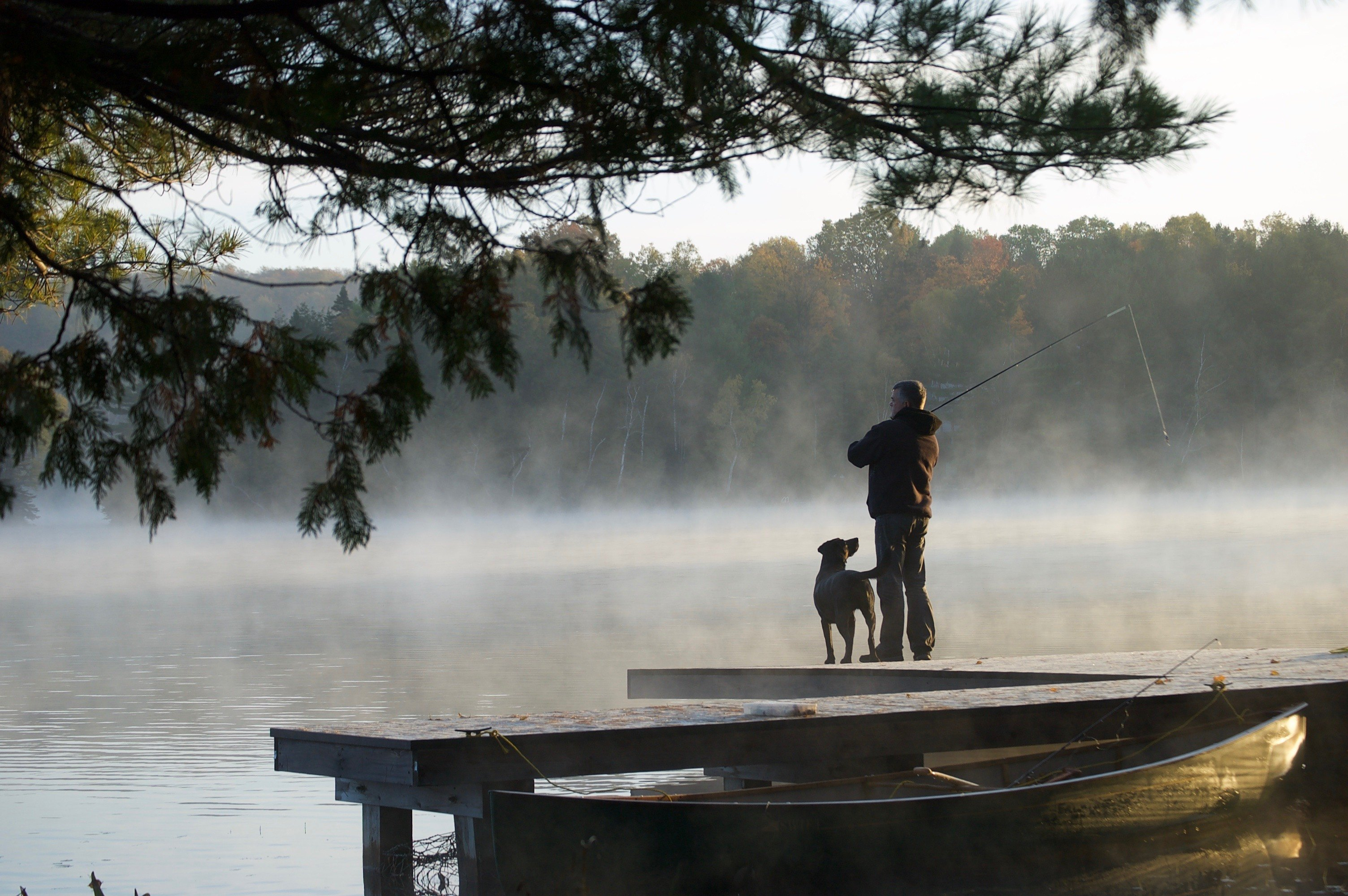Man fishing on dock with dog