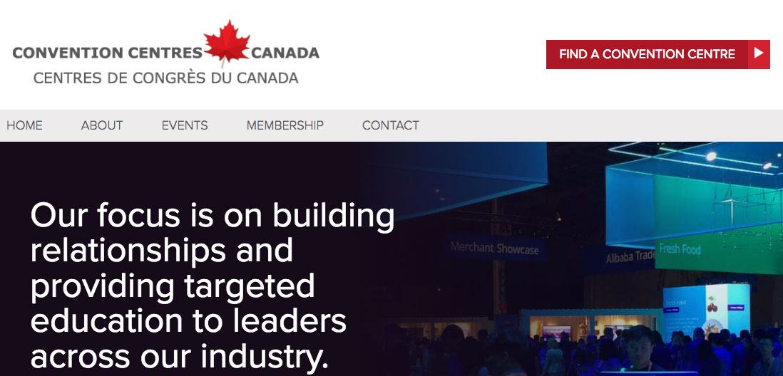 Convention Centres Canada Home page screenshot