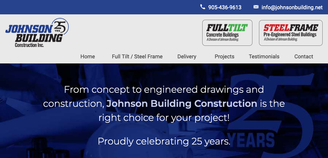Thumbnail of JohnsonBuilding.net website