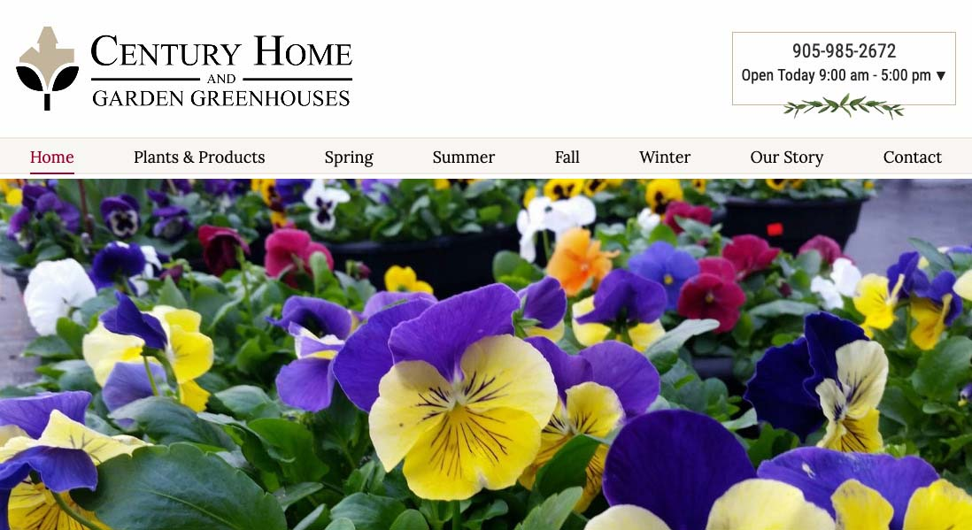 Century Home and Garden Greenhouses Website thumbnail