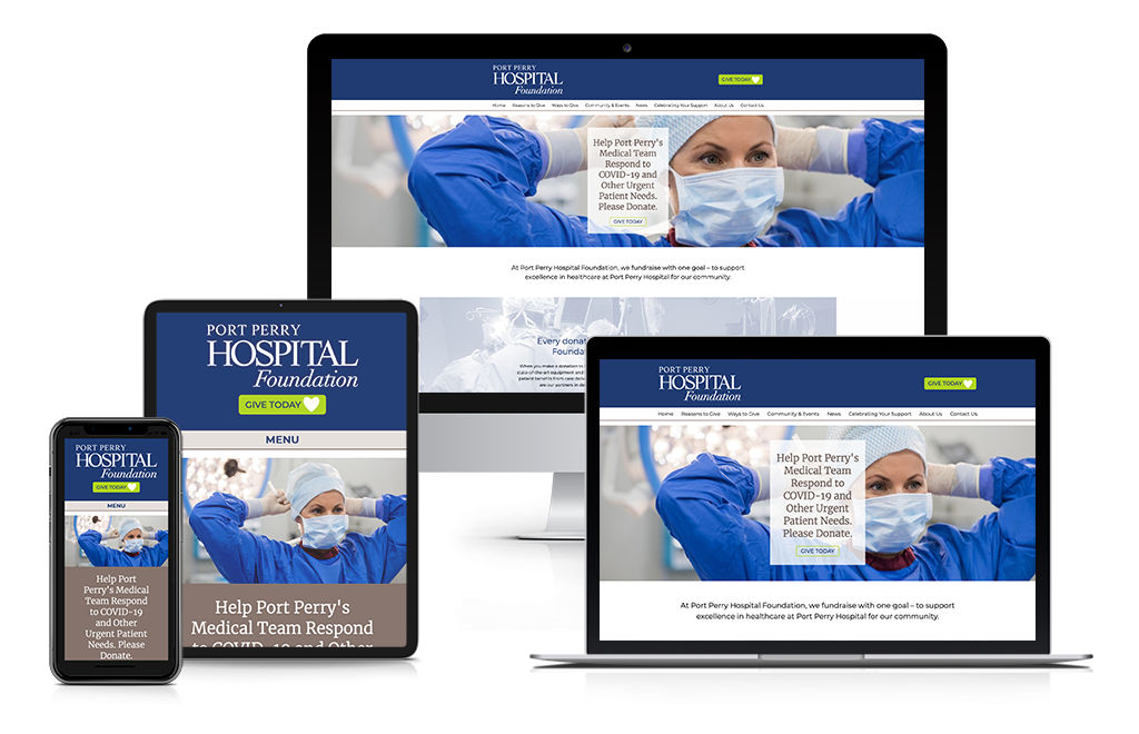 screen shots of Port Perry Hospital Foundation website on various devices
