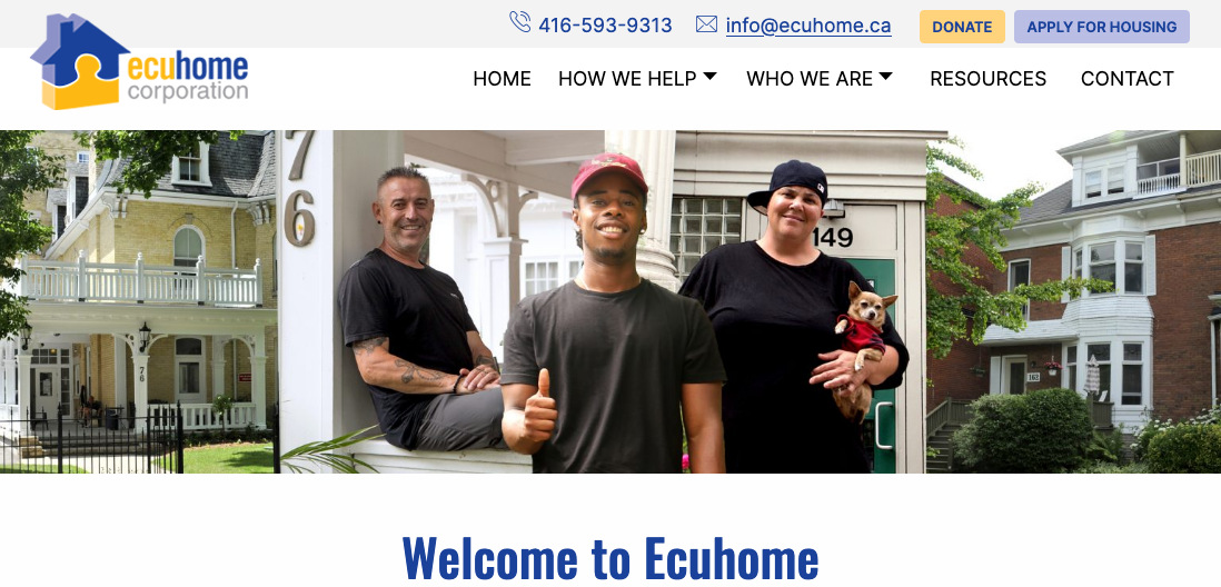 Ecuhome.ca home page thumbnail